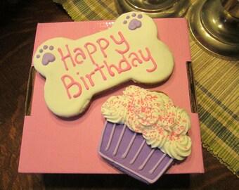 Extra Large Personalized Birthday Dog Treats Jumbo Bone and Extra large Cup Cake