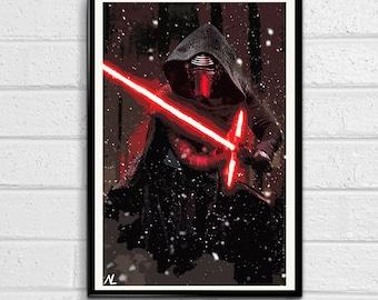 Star Wars - Kylo Ren - The Force Awakens Illustration #1, Movie Pop Art, Home Decor, Sci-fi Poster, Film Print Canvas