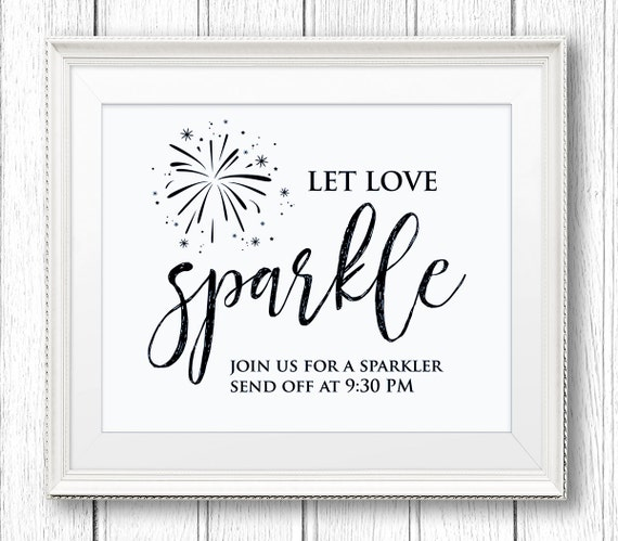 Sparkler Send Off Sign, Let Love Sparkle, DIY Wedding Sign Printable, Instant Download, Editable Text, PDF Template, Digital Download #SW21