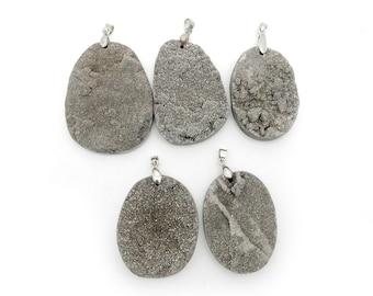 Platinum Colored Round Druzy Titanium Treated Cabochon with Silver Plated Bail - (RK56B11)