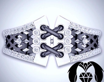 Burlesque Corset White and Black Gold Engagement Ring