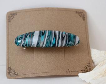 Hair Clip 2.3 inch Hair Slide,French clip, Hair barrette, Polymer Clay, Shawl Pin, Hair comb Green Pearl color SMALL