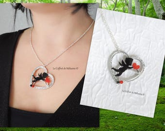 Angel of love Cupid Valentine heart pendant necklace