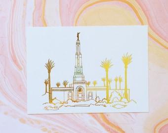 Illustrated Redlands California Temple Gold Foil Art Print