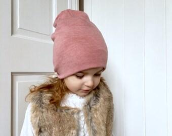 Pink wool feel Beanie hat / kids warm jersey baby beanie hat / jersey wool feel knit hat / toddler beanie / kids beanie / hipster baby