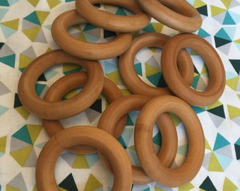 "Set of 10 ORGANIC Finished Wood Rings 2.5"" or 3"" for Baby Teething Rings Wooden ring sealed w/ 100% Organic Beeswax / Coconut Oil CPSIA BULK"