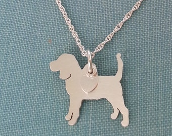 Beagle Hound Dog Necklace, Sterling Silver Personalize Pendant, Breed Silhouette Charm Rescue Shelter