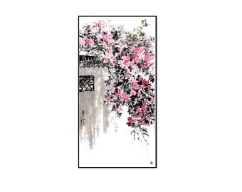 Watercolor Painting,Flower Watercolor Painting, Flower Tree Painting,Wall Decor,Wall Art, Giclee Paper Print,Vertical Painting,Free Shipping