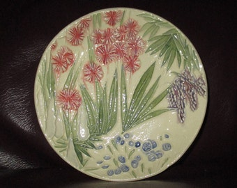 "Allium Garden Ceramic Ring or Candy or Trinket or Soap Dish   5""                                              310"