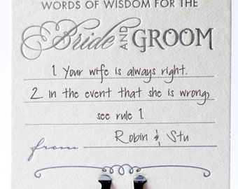 Wedding table decor, table decoration, fun coasters, Advice for the bride and groom wedding Letterpress Coasters, guest book alternative x6