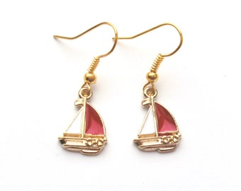 Red and White Boat Earrings in Gold, Sailing Boat, Yacht Earrings, Nautical Earrings, Gold Earrings, Choose Gold Plated or Gold Filled Wires