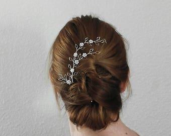 Leaf Headpiece Bridal hair Pieces Pearl Bridal Hair Vine Bridal Headpiece Leaf hair Vine, Silver Leaf Hair Head Pieces Leaf Hair Accessories