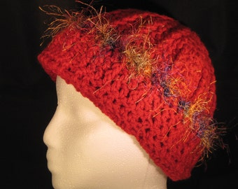 red winter hat with distinctive multi-colored fringe for teens/tweens that love red and/or one-of-a-kind unique hats