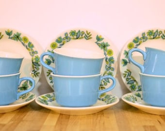 Mid Century Royal China Dutch Treat Swiss Style Blue and Yellow Floral Ceramic Coffee Cup and Saucer Set of Six