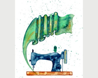 Original watercolor painting Sewing machine and flying fabric Hand painted studio decor
