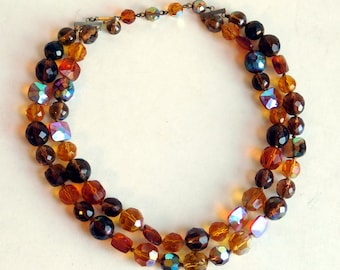 Vintage Faceted Heavy Cut Crystal Multi-Strand Necklace in Brown, Amber & Gold - Double Strand Mid-Century Cut Glass Beads - 1950s Sparkly