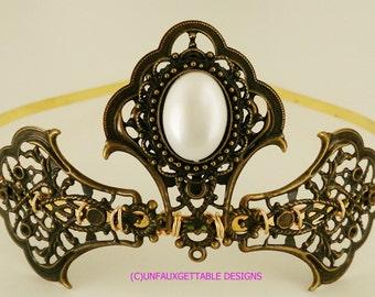 Tudor Medieval Pearl Elaborate Tiara larp ren sca Tudor Wedding