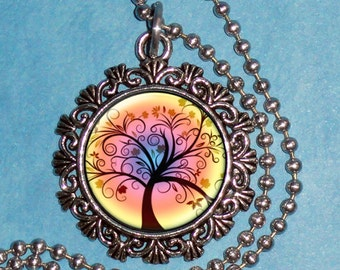 Autumn Sunset Tree Digital Art Pendant, Brown Tree and Sunset Resin Art Pendant, Photo Pendant