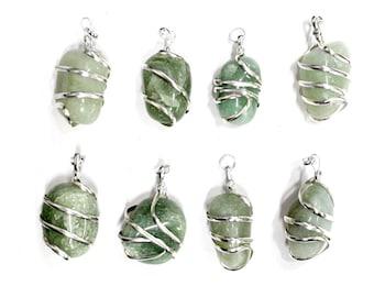 Adventurine Tumble Stone Silver Tone Spiral Tumbled Green Aventurine Pendant - Silver Tone Spiral Wrapped  - (TS-104-04)