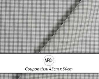 Fabric coupon cotton gray and white gingham (tile: 3x3mm) 45 x 50cm