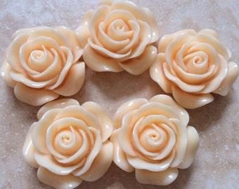2 pcs 30 mm Cabochon Flowers,l Peach,peach Rose, peach resin flower,30 mm peach flower kit,light peach cabochon flower,peach rose cabochon