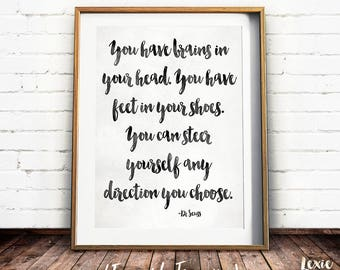 Dr Seuss Quote, Nursery Art, You have brains in your head, Childrens Art, Black and White Print, Instant Download, Printable Wall Art,