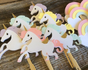 Unicorn Party Cupcake Toppers, First Birthday, Baby Shower, Birthday Party, Rainbow Party