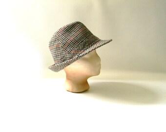 Vintage Wool Houndstooth Fedora Hat