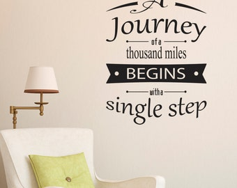 A Journey Of A Thousand Miles Quote Wall Sticker - Quote Wall Decor