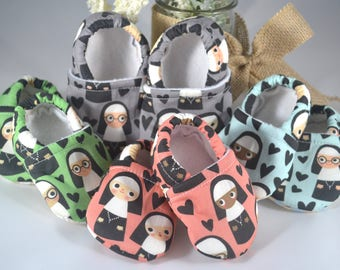 Happy Nun Baby Shoes - Mushies Baby Shoes - Soft Sole Baby Shoes - Nun Baby Shoes - Catholic Gifts - Catholic Baby Shoes