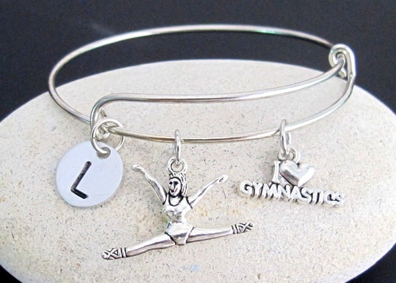 Gymnast bangle, gymnast charm bracelet, expandable bangle, I love Gymnastic charm bangle,personalized initial bracelet,  Free Shipping USA