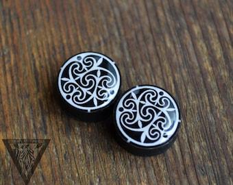 "Plugs Celtic mandala image ear wooden gauge 4,5,6,8,10,12,14,16,18,20,22,24,25-60mm;6g,4g,2g,0g,00g;1/4,5/16,3/8,1/2,9/16,5/8,3/4,7/8,1 1/4"""
