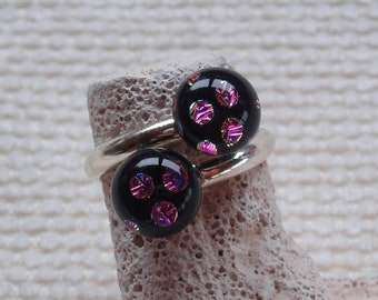 Sterling Silver ring, double cabochons in black glass with purple spots