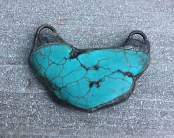Large aqua slab pendant