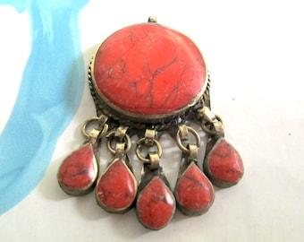 Kuchi Focal Pendant, Handmade in Peshawar, Afghan, Unpolished Coral, Tribal Silver, Coral Teardrop Dangles