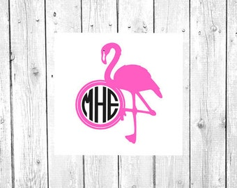 Flamingo Decal, Flamingo Monogram, Vinyl Decal, Yeti Decal, Car Decal, Gifts for her, Phone Decal, Laptop Decal, Yeti Cup