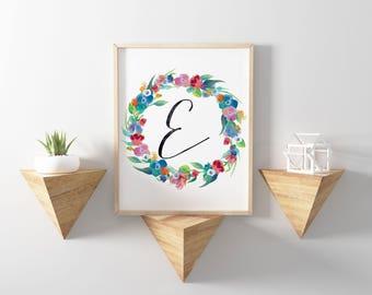 Monogram Nursery Art, Letter E Printable, Floral Wreath Monogram Print, Boho Nursery Decor, Watercolor Nursery, Instant Download