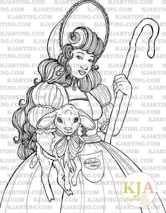 Little Bo Peep Coloring Page Line_Art Printable_00178