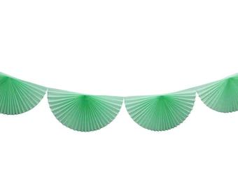 MINT green tissue paper pinwheel garland.  10 feet. Mint fan bunting. Rosette party garland.  Tissue bunting garland.  Mint pinwheel banner.