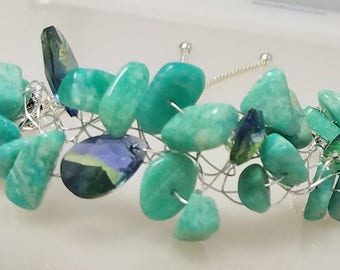 crocheted Amazonite and bluegreen glass bracelet with slide closure