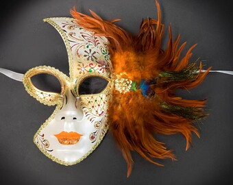 Masquerade Mask,  Masquerade Ball Mask, Feather Masquerade Mask, Feather Mask, Orange Feathers