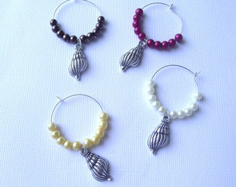 Conch Shell Wine Charms Set of 4