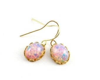20%OFF SALE Harlequin Opal Dangle Earrings, Tiny Fire Opal Earrings, Faux Opal Drop Earrings
