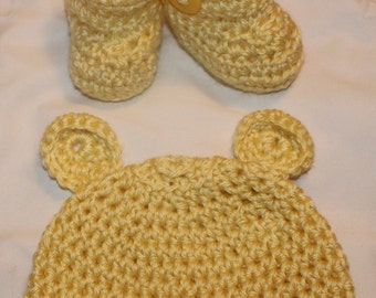 Crochet Baby Yellow Bear Hat And Booties Set 0-3 Months