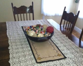 Gorgeous hand-crocheted tablecloth, off white, large
