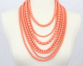 Multi Strand Beaded Necklace Statement Necklace Multi Layered Beads Long Necklace Seven Strand Beads Necklace Coral