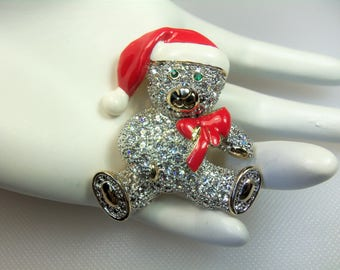 Adorable Clear Rhinestone Pave Christmas Teddy Bear with Red and White Enamel Hat & Bow Holiday Pin Brooch