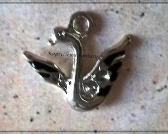 4 bird, Swan, Swan charm, black, silver, 20 x 19 mm
