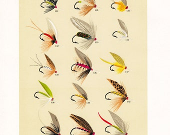 fly fishing print from the 19th century, printable digital download, collage sheet no. 945.