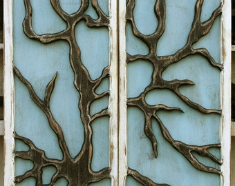 Rustic Wall Tree Hanging Distressed Reclaimed Wood Wall Mount Tree Art Rustic Home Wall Decor Farmhouse Rustic Chic California Woodwork USA